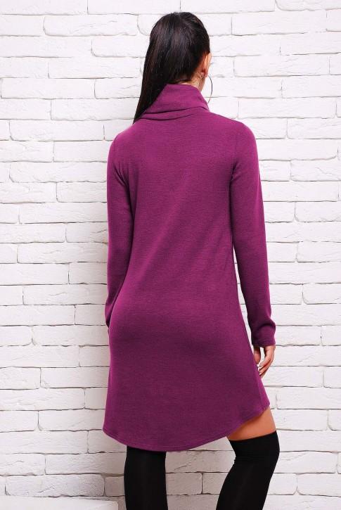 Теплое сиреневое платье из ангоры - PL-1280H (фото 2)