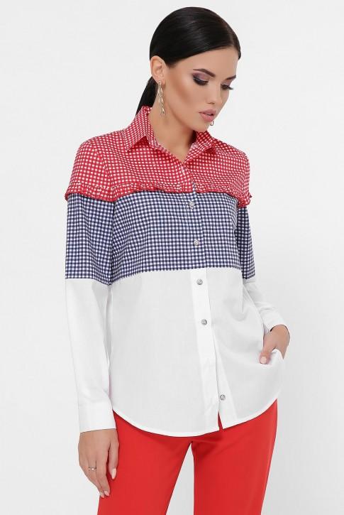 Женская рубашка в мелкую клетку, трехцветная RB-1787A