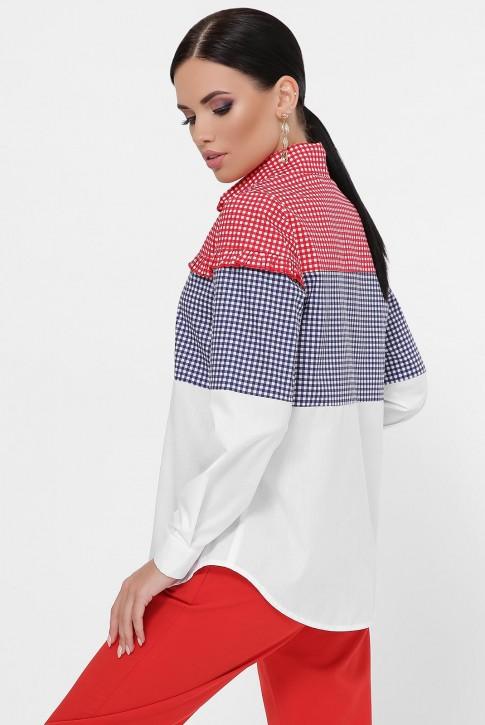 Женская рубашка в мелкую клетку, трехцветная RB-1787A (фото 2)