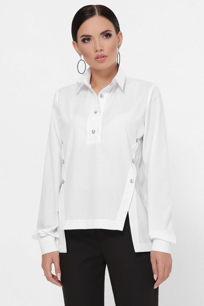 Рубашка с разрезами по бокам, белая RB-1785A