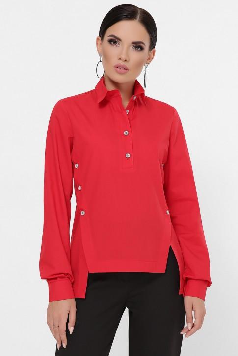 Рубашка с разрезами по бокам, красная RB-1785B