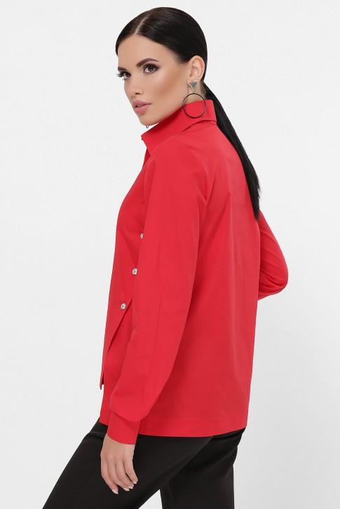 Рубашка с разрезами по бокам, красная RB-1785B (фото 2)