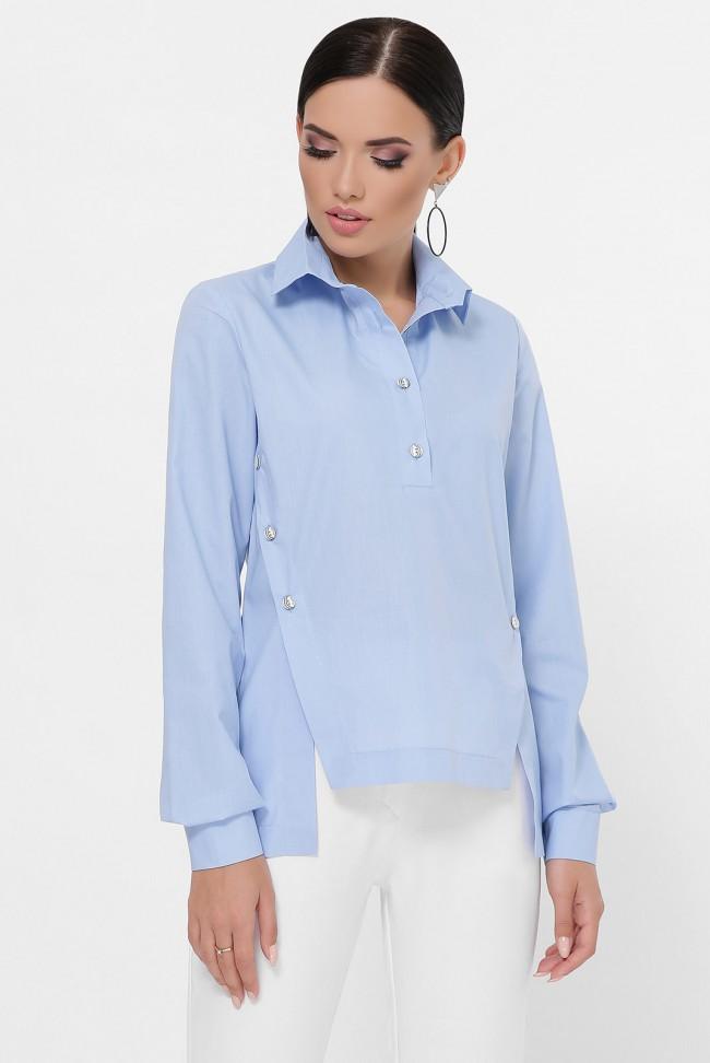 Рубашка с разрезами по бокам, голубая RB-1785C