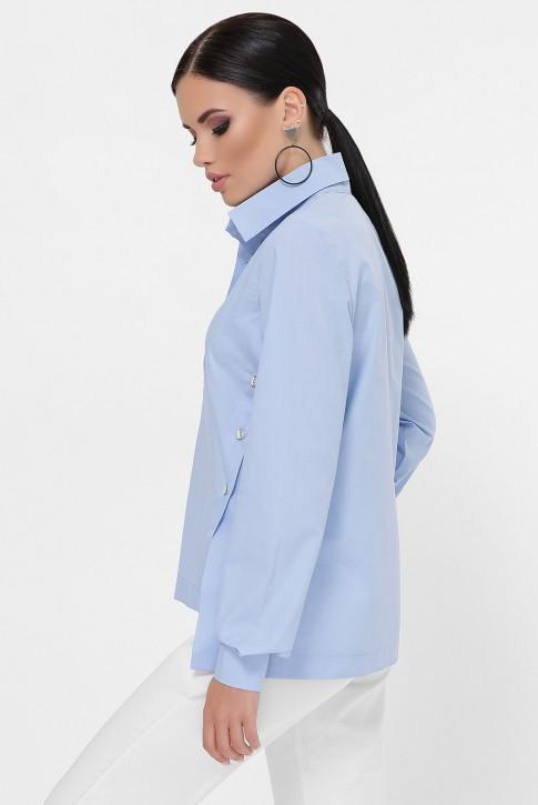 Рубашка с разрезами по бокам, голубая RB-1785C (фото 2)
