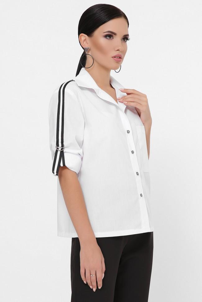 Рубашка с рукавами 3/4 и лентами, белая RB-1790A