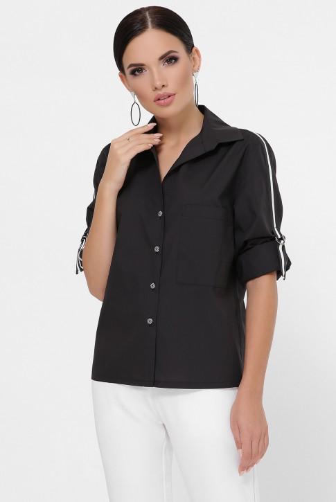 Рубашка с рукавами 3/4 и лентами, черная RB-1790B