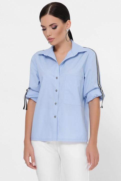 Рубашка с рукавами 3/4 и лентами, голубая RB-1790C