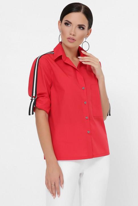 Рубашка с рукавами 3/4 и лентами, красная RB-1790D