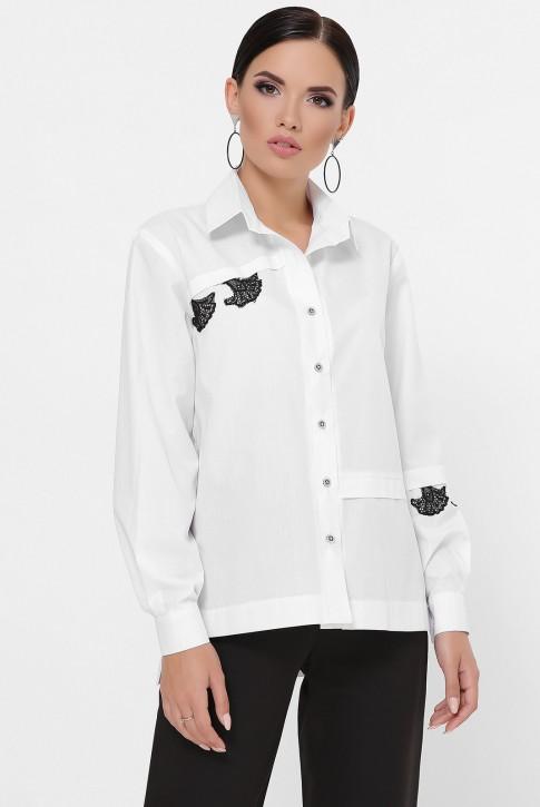 Рубашка с кружевной нашивкой, белая RB-1791A