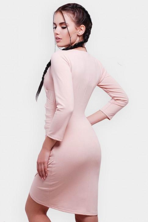 Ассиметричное  платье на запах с длинным рукавом. Цвет: пудра (фото 2)