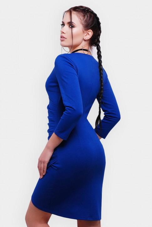 Ассиметричное  платье на запах с длинным рукавом. Цвет: электрик (фото 2)