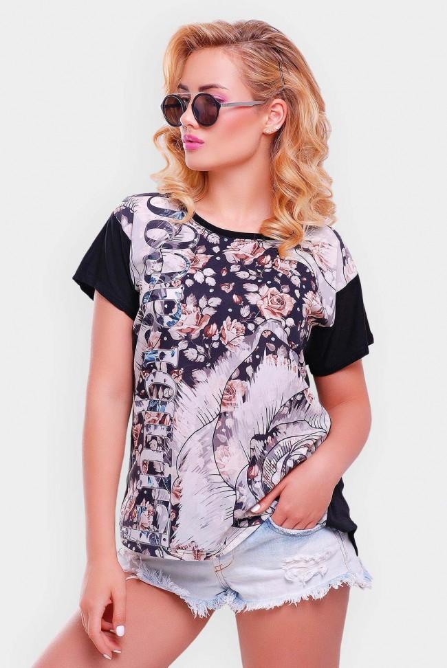 """Черная женская футболка с принтом - """"Air"""" FB-1346D1"""