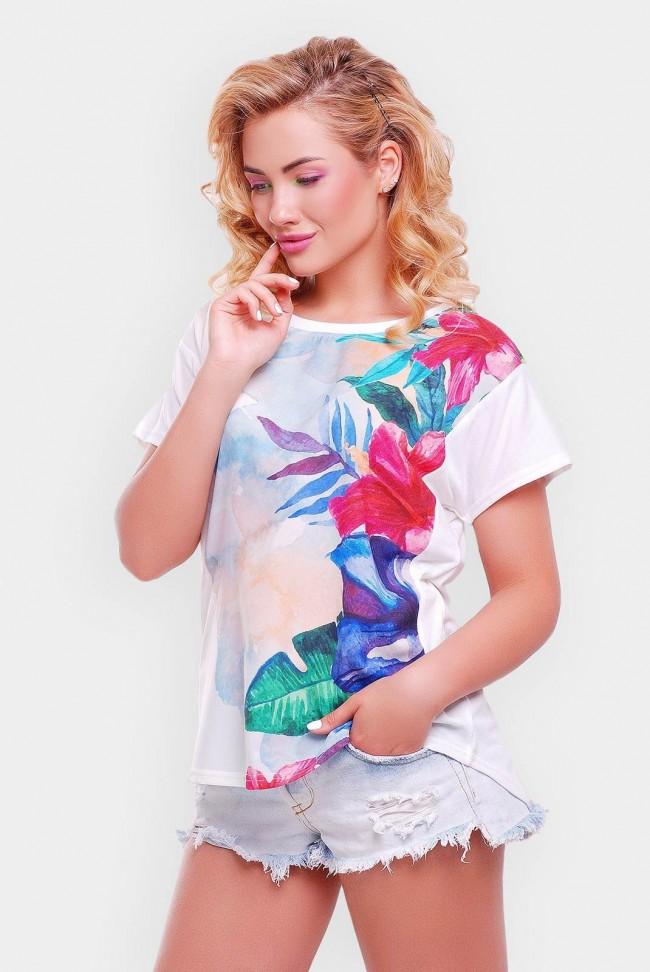"""Летняя белая футболка с принтом - """"Air"""" FB-1140U"""