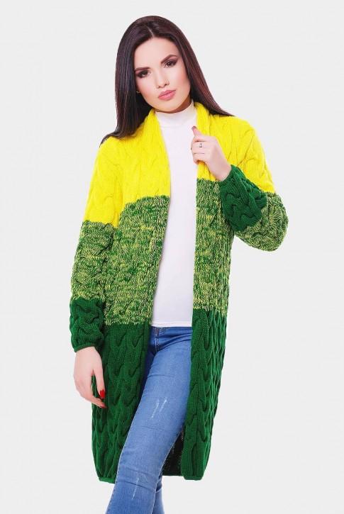 Вязаный кардиган Лало из двух цветов пряжи, желтого и зеленого