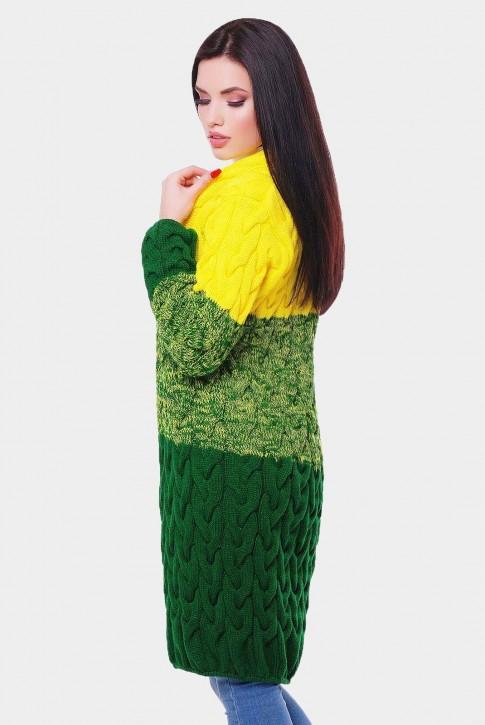 Вязаный кардиган Лало из двух цветов пряжи, желтого и зеленого (фото 2)