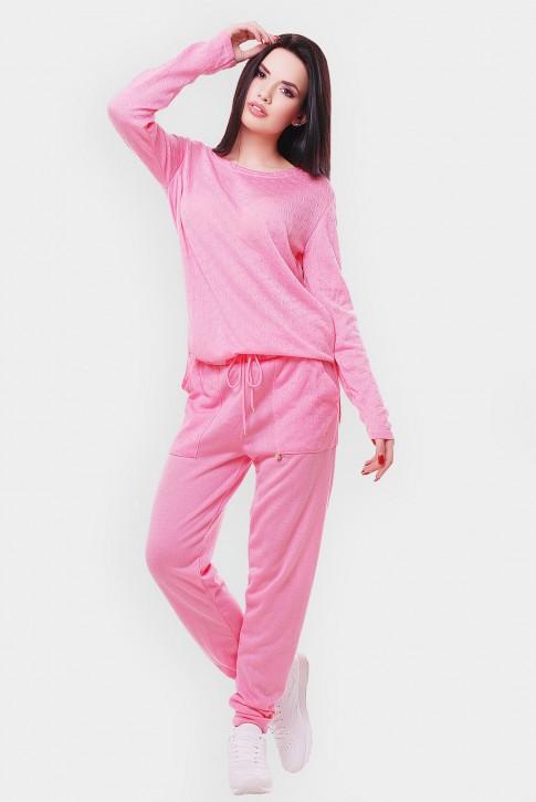 Вязаный женский комбинезон, светло-розовый VKB0006