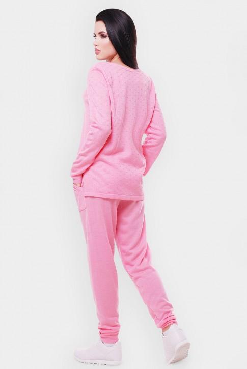 Вязаный женский комбинезон, светло-розовый VKB0006 (фото 2)