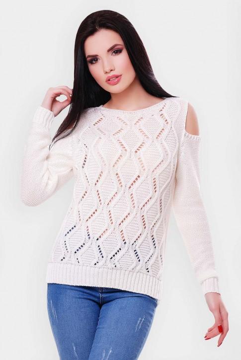 """Белый свитер из хлопка и акрила """"LALA"""" SVL0009"""