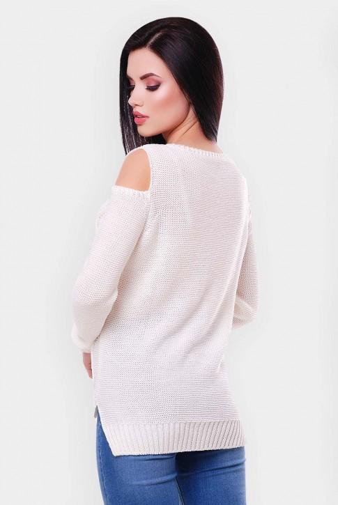 """Белый свитер из хлопка и акрила """"LALA"""" SVL0009 (фото 2)"""