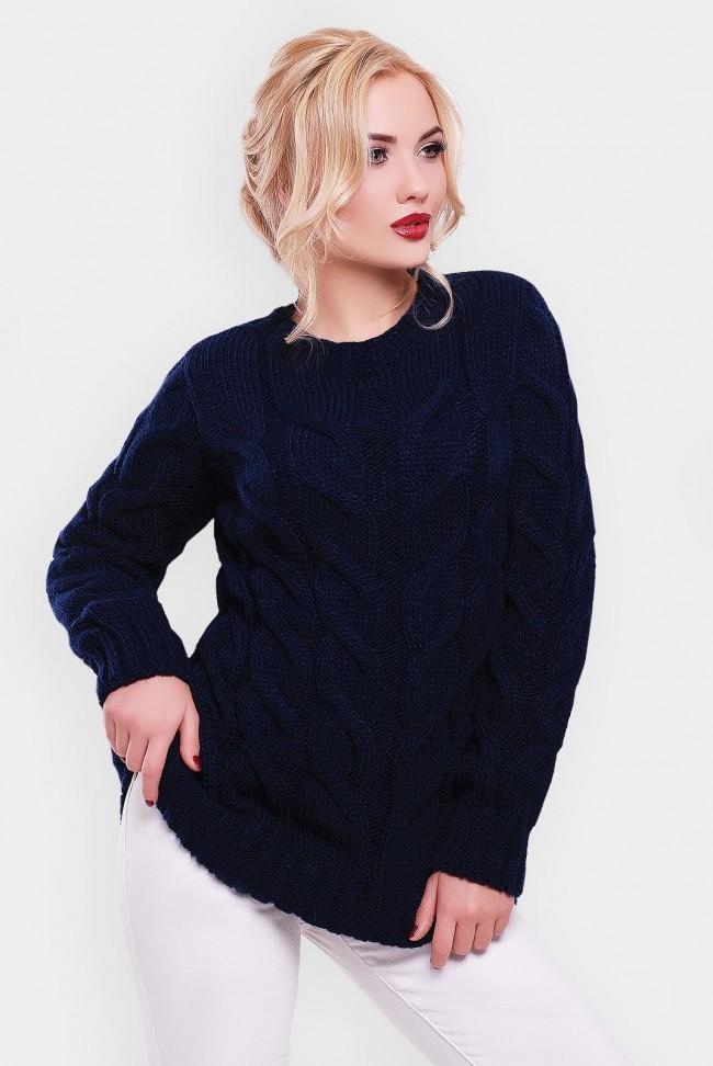 Удлиненный свитер женский темно синего цвета - SVV0025