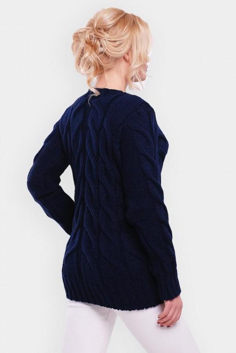 Удлиненный свитер женский темно синего цвета - SVV0025 (фото 2)