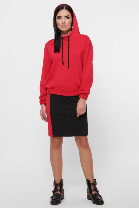 Спортивный юбочный костюм, красный с черным KS-1800A