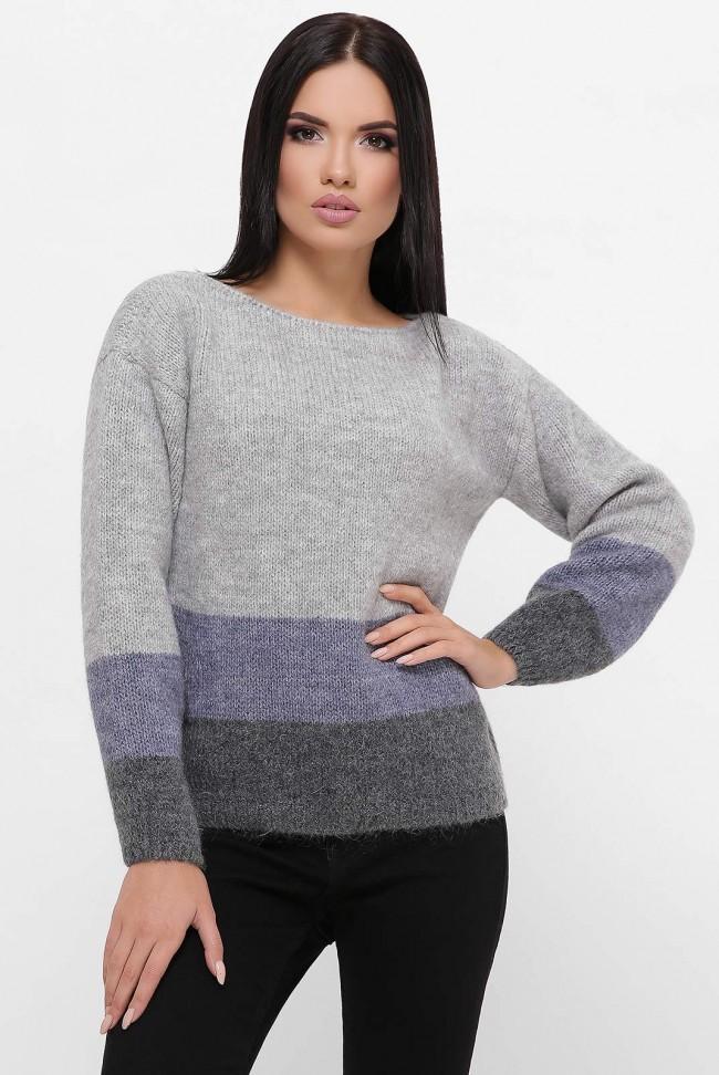Трехцветный свитер, серый-джинс-графит  SVE0004