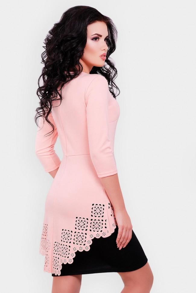 Платье с баской и перфорацией, персиковый с черным PL-1542D