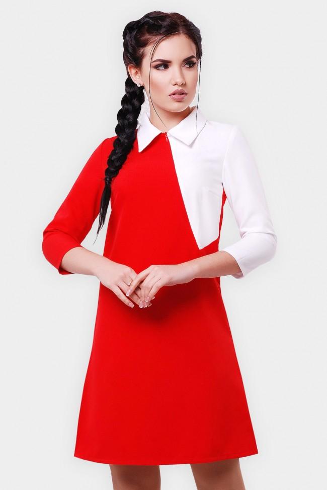 Двухцветное платье с воротником. PL-1550A