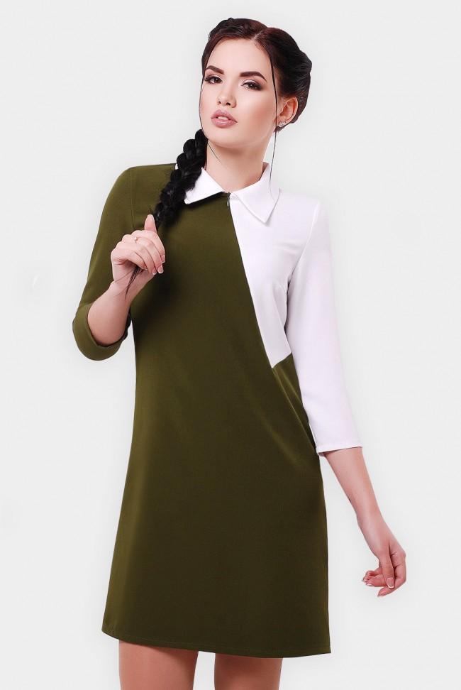 Двухцветное платье с воротником. PL-1550B