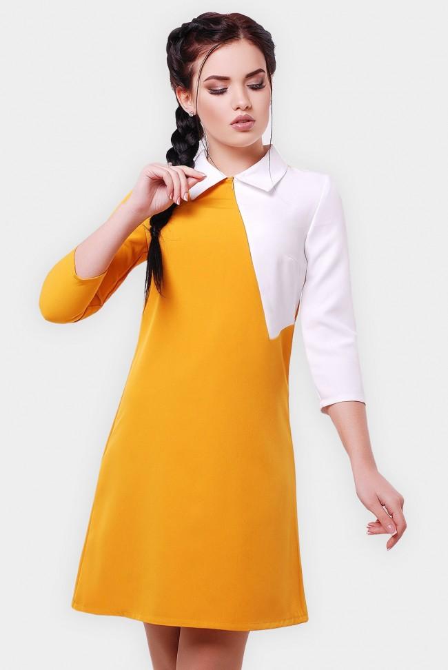Двухцветное платье с воротником. PL-1550C