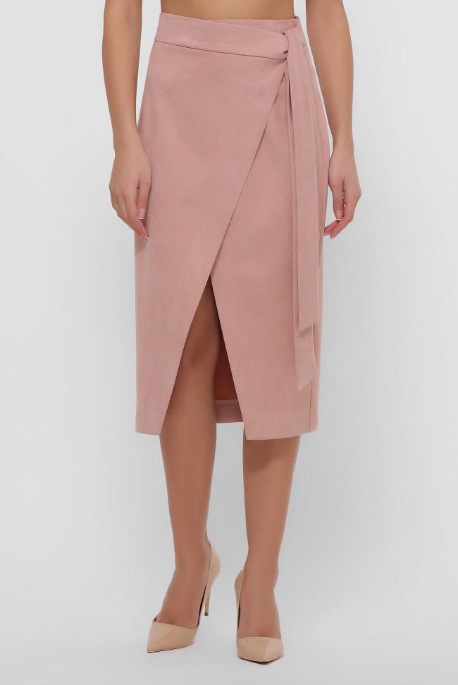 Замшевая юбка на запах персикового цвета. YUB-1067A