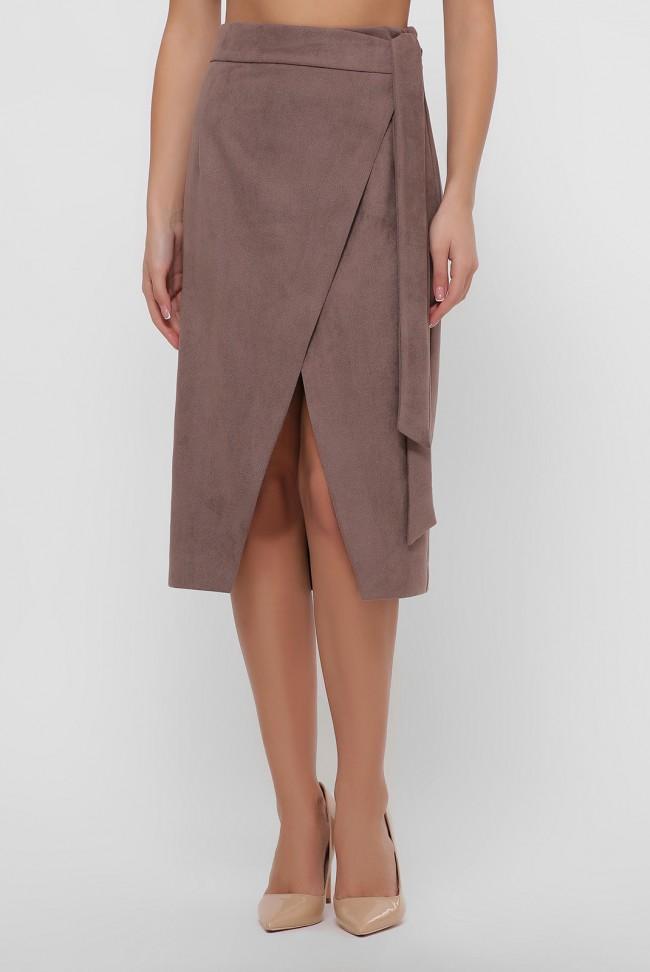 Замшевая юбка на запах цвета мокко. YUB-1067B