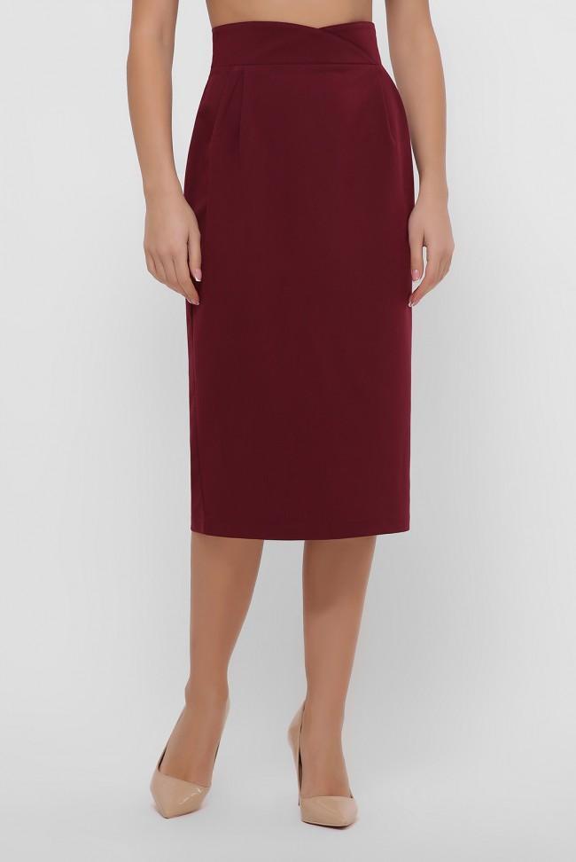 Бордовая юбка миди зауженная книзу. YUB-1056A