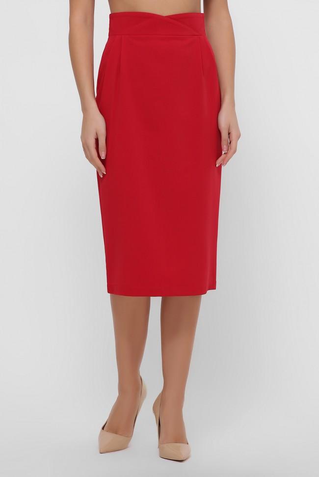 Красная юбка миди зауженная книзу. YUB-1056D