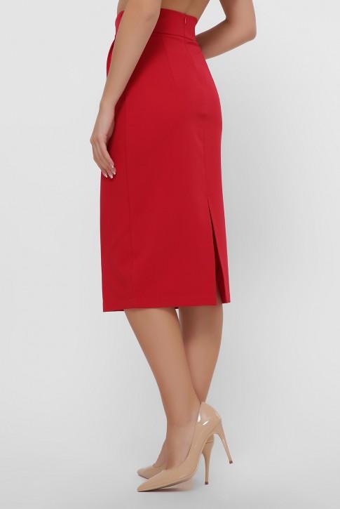 Красная юбка миди зауженная книзу. YUB-1056D (фото 2)