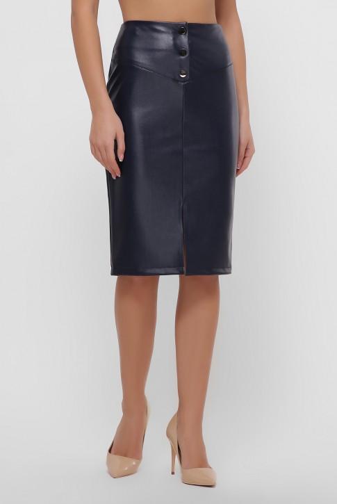 Темно-синяя юбка с кокеткой из экокожи. YUB-1055A