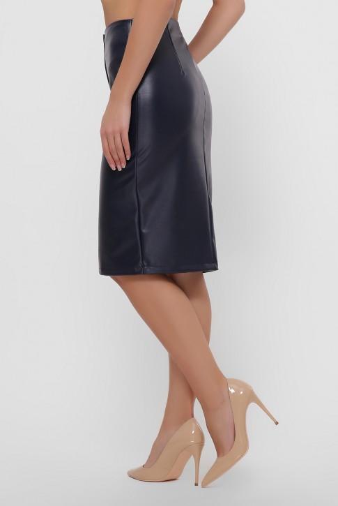 Темно-синяя юбка с кокеткой из экокожи. YUB-1055A (фото 2)