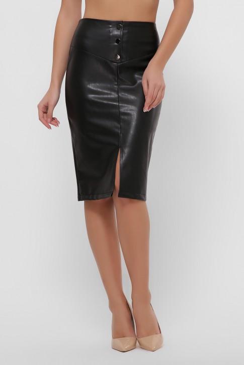 Черная юбка с кокеткой из экокожи. YUB-1055B