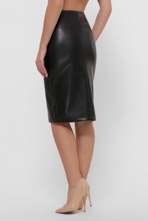 Черная юбка с кокеткой из экокожи. YUB-1055B (фото 2)