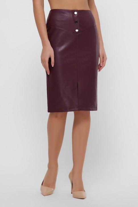 Бордовая юбка с кокеткой из экокожи. YUB-1055C