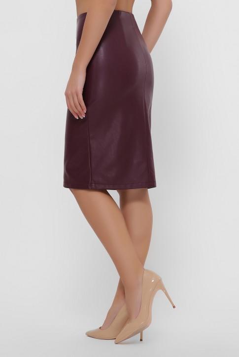 Бордовая юбка с кокеткой из экокожи. YUB-1055C (фото 2)