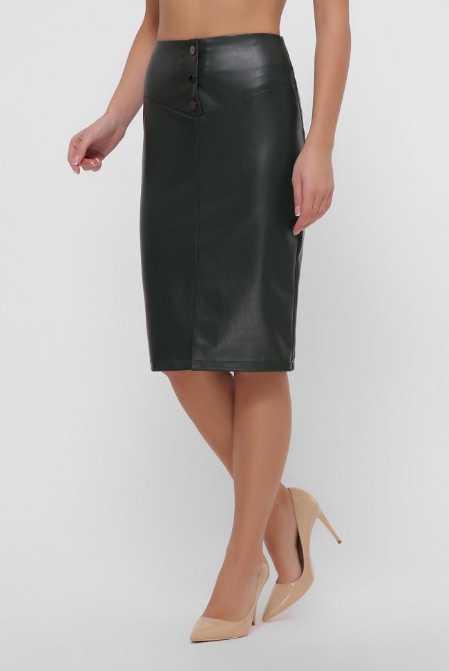 Темно-зеленая юбка с кокеткой из экокожи. YUB-1055D