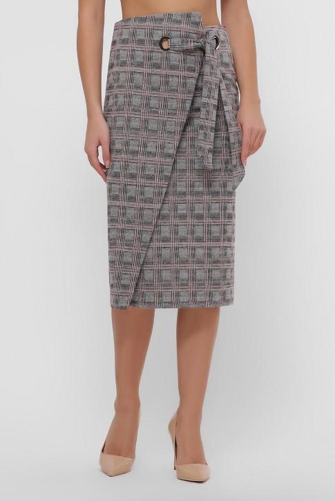 Кашемировая юбка в бежевую клетку. YUB-1066B