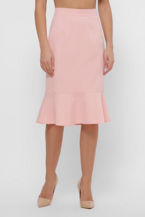 Персиковая юбка с оборкой внизу. YUB-1042A