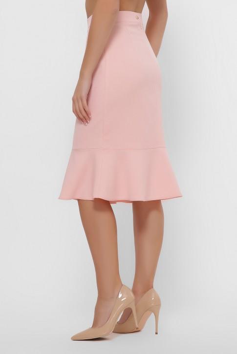 Персиковая юбка с оборкой внизу. YUB-1042A (фото 2)