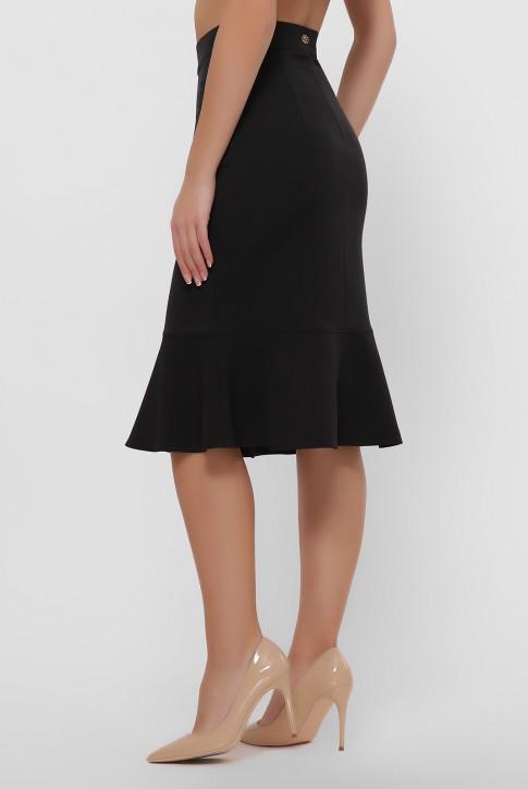 Черная юбка с оборкой внизу. YUB-1042B (фото 2)