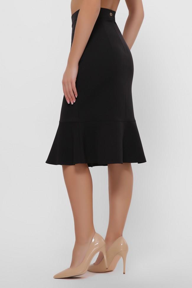 Черная юбка с оборкой внизу. YUB-1042B