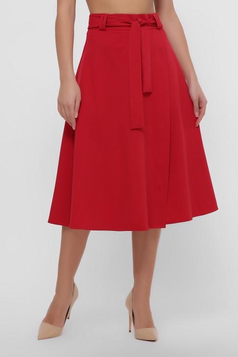 Красная юбка клеш на запах. YUB-1069B