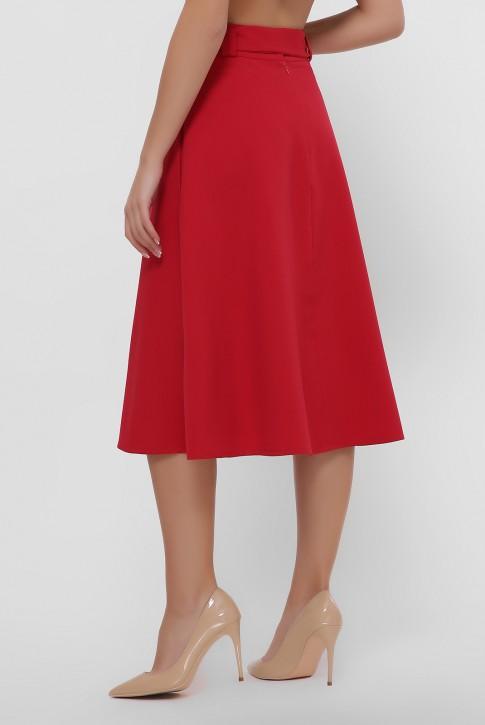 Красная юбка клеш на запах. YUB-1069B (фото 2)